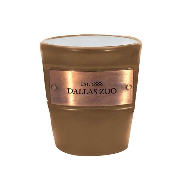 DALLAS ZOO METAL EMBLEM TAN SHOT GLASS