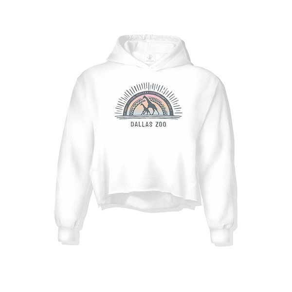LADIES CROP HOODIE GIRAFFE SUNBURST WHITE