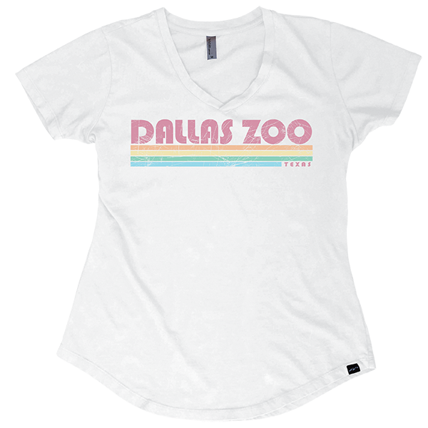 LADIES SHORT SLEEVE RETRO STYLE DALLAS ZOO WHITE
