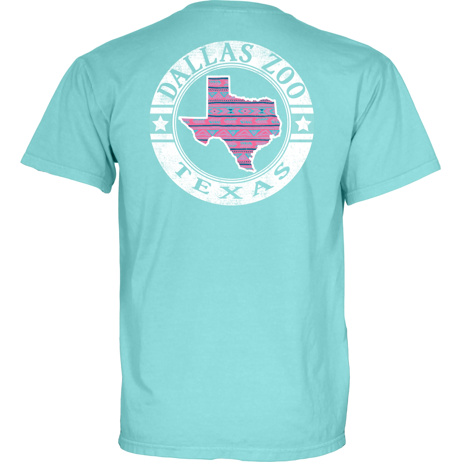 LADIES SHORT SLEEVE PATTERN TEXAS CARIBBEAN BLUE