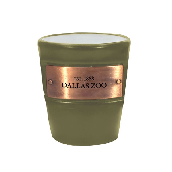DALLAS ZOO METAL EMBLEM OLIVE SHOT GLASS