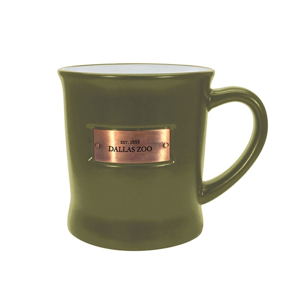 DALLAS ZOO METAL EMBLEM OLIVE MUG 15 oz